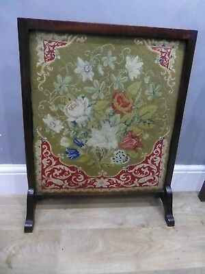 Vintage Tapestry Fire Screen Or Guard,  Wood Framed, Embroidered