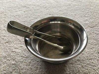 Silver Plated Sugar Bowl With Tonges