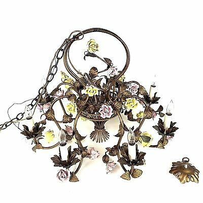 Vintage Italian Tole Chandelier Pink and Yellow Porcelain Roses 8 Lights