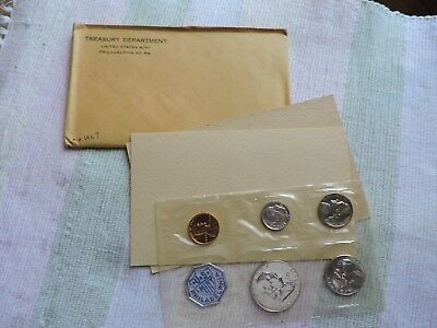 1957 90% Silver United States Mint Proof Set 5 Coins W/ Envelope