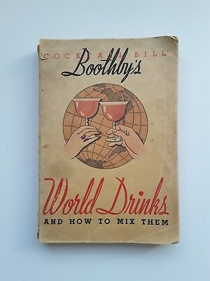 Vintage Bartending Cocktail Recipes Mixology Bill Boothby's World Drinks 1934
