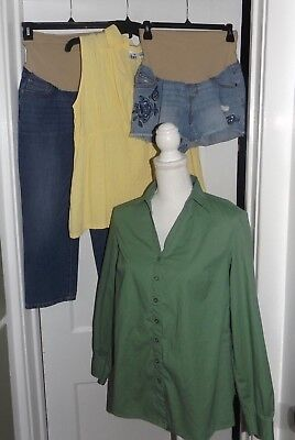 4 Piece Lot Of Maternity-Women's Size M Jean Capris-Oh Baby, Shorts & 2 Tops
