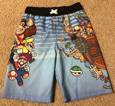 1db7195499 Super Mario Size Small (S) Boys Swim Trunks Swimsuit Blue Nintendo Bowser