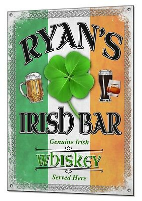 Personalised Irish Bar Vintage Pub Sign Plaque Exclusive Design Man Cave Ireland