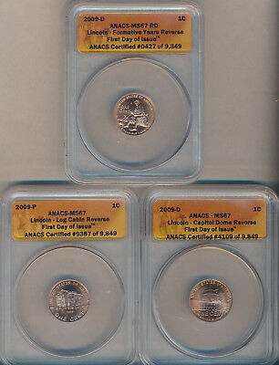 Lot Of (3) 2009-P Lincoln Bicentennial Cents **anacs Certified Ms 67**