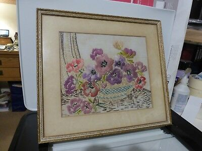 Framed Embroidered Picture of Anemones
