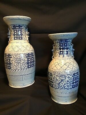 Incredible Large Pair Antique Chinese Porcelain Vases Blue White