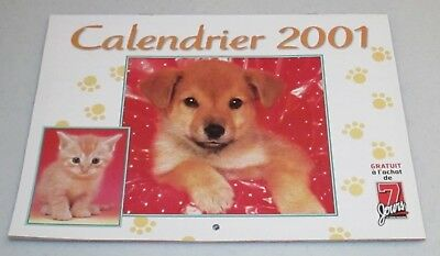 Superb Cat and Dog French Wall Calendar Magazine 2001