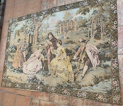 Antique French Aubusson Style Wall Hanging Tapestry - 120 X 183 Cm