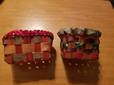 "Pair of Vintage Antique Small Woven 5"" 4"" EASTER BASKETS Marked Japan & 10 cents"