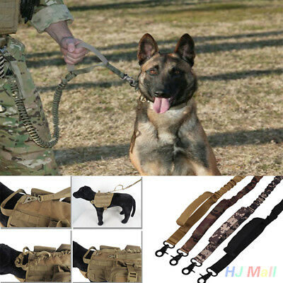 5855 Dog Tactical Leash Elastic Strap Training Military Army Puppy Braided Leads