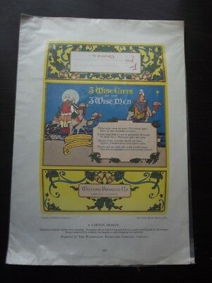 Christmas Arts & Crafts Carton Design, Three Wise Men - Circa 1910