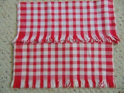 """2 ~ Vintage CANNON Tea Towels RED & WHITE CHECKED All Cotton 16"""" x 25"""""""