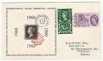 """1960 Intl Stamp Expo London.printed """"penny Black Cinderella""""tied By Cancel"""