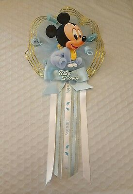Baby Mickey Mouse, Baby Shower Mother to be Corsage, Blue for Boy's