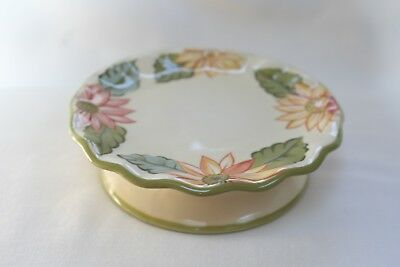 LONGABERGER SUNFLOWER Scalloped CANDLE Holder PEDESTAL Footed  Plate
