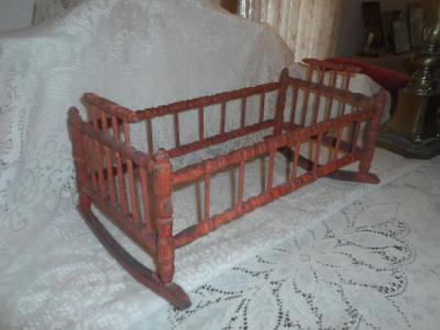 Antique Primitive Red Wood Turned Spindle Childs Baby Doll Rocking Cradle Crib