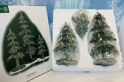 """Department 56 Accessories """" Acrylic Green Glitter Trees - Set of 3"""" NEW"""
