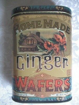 "Nice Colorful Collectible Tin Homemade Ginger Wafers Daher Made In England 5""+"