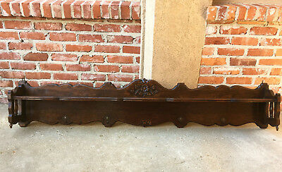 Large Antique French Country Dark Oak Wall Shelf Coat Hat Rack Farmhouse