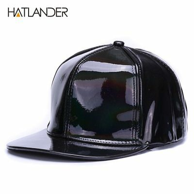 Shining PU flat brim baseball hats for boys girls solid snapbacks