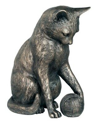 LOWER PRICE! Large Bronze Cat Playing with Ball - Hand Finished - 20cm High