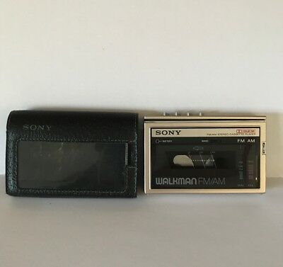 Vintage Sony Walkman FM Cassette Player WM-F10 W/ Case Untested Good Condition