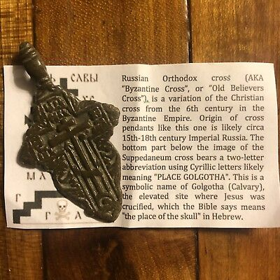 Medieval Cross Pendant Byzantine Russian Artifact Calvary Orthodox Jesus Old #!