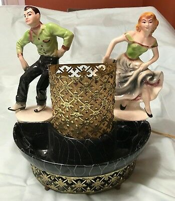 Vintage western male and female dansers and candy dish light