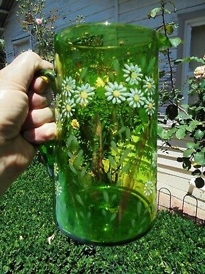 LARGE ANTIQUE VICTORIAN ENAMELLED DAISIES GREEN GLASS JUG VASE c1880