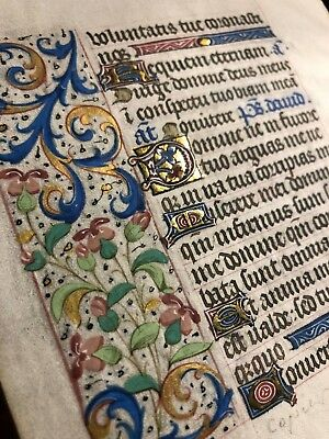 Highly Decorated Illuminated Manuscript leaf from a book of hours c 1450  vellum