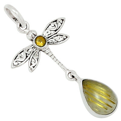 Dragonfly - Golden Rutile & Citrine 925 Sterling Silver Pendant Jewelry 27593P