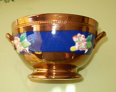 Antique Sarreguemines French Copper Lustre Ware Small Bowl w Blue Band Design