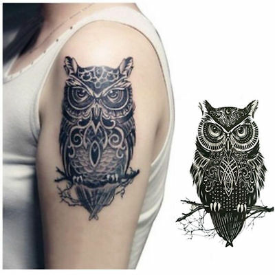 1 pcs Sexy Waterproof Temporary Tattoos Large Black Owl Arm Tattoo Sticker Cool