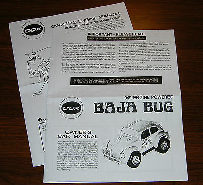 Cox Baja Bug .049 Owners Car Instruction And 049 Engine Manual
