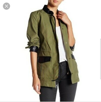 3942c8245b4 New 14th   Union Womens Military Jacket Army Green Faux Leather Size Small