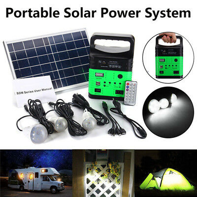 NEW 10W Solar Power Panel Generator LED Light USB Charger Kit Home/Outdoor/RV