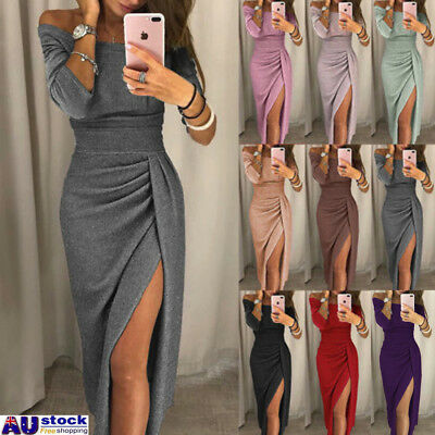 AU Women Off Shoulder Short/Long Sleeve Bodycon Split Evening Party Gown Dresses