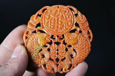 Exquisite Chinese old jade carved Two-sided *fishes* lucky pendant   G75