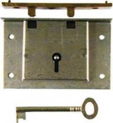 Large Steel Half Mortise Chest Lock With Key And Cast Brass Catch, M-1806