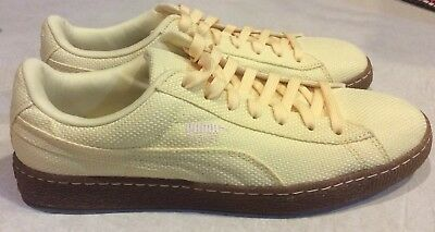 3009e83a0c0f PUMA BASKET Ribstop IC MEN S Size 7.5 Mellow Yellow White Swan Casual Shoes  NEW