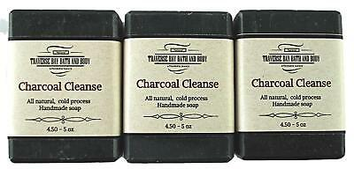 Charcoal Cleanse with colloidal oatmeal, all natural soap 3 bar pack.