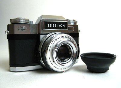 ZEISS IKON CONTAFLEX Super B w/ 50mm f/2 8 Tessar Lens and Rubber Lens Hood