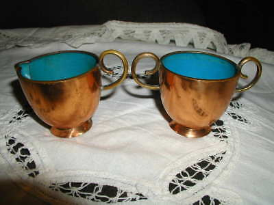 Antique Copper, Brass Handles Cloissoine Creamer and Sugar EW China
