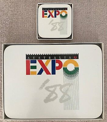 WORLD EXPO 88 - 6 x PLACEMATS & 6 COASTERS UNUSED OFFICIAL PRODUCT
