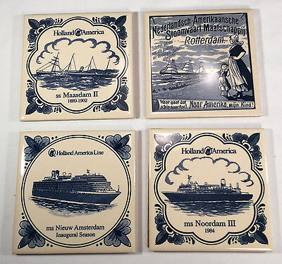 Four Assorted Holland America Cruise Line Blue White Cork Backed Coasters Tiles