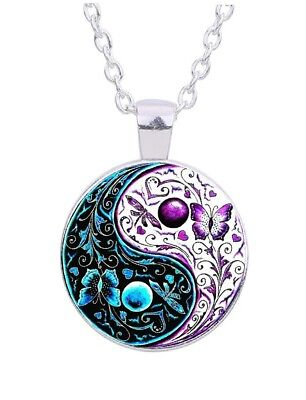 """Yin Yang Butterfly 20"""" Silver Tone Chain Glass Cabochon Pendant Necklace"""