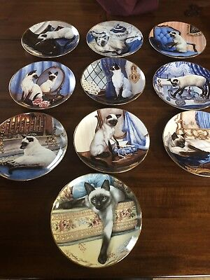 Franklin Mint Heirloom Set of 10 Siamese Cat Plates By Daphne Baxter