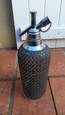 Ancien siphon en verre grillagé made in England