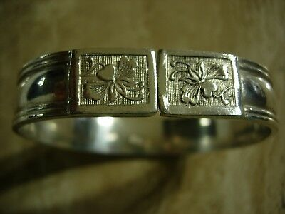 Antique Chinese Silver Bangle Bracelet Floral Pattern Marked